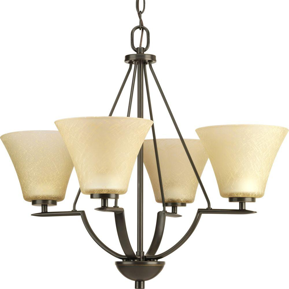 Bravo Collection 4-Light Antique Bronze Chandelier with Shade with Umber Linen