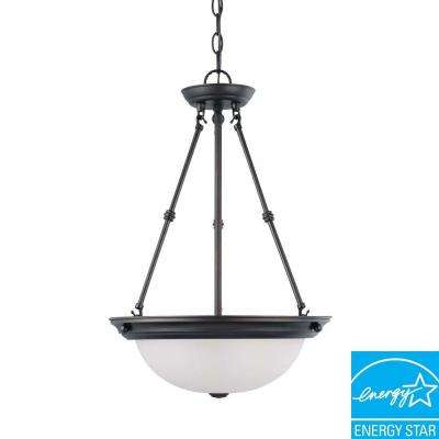3-Light Mahogany Bronze Fluorescent Ceiling Pendant