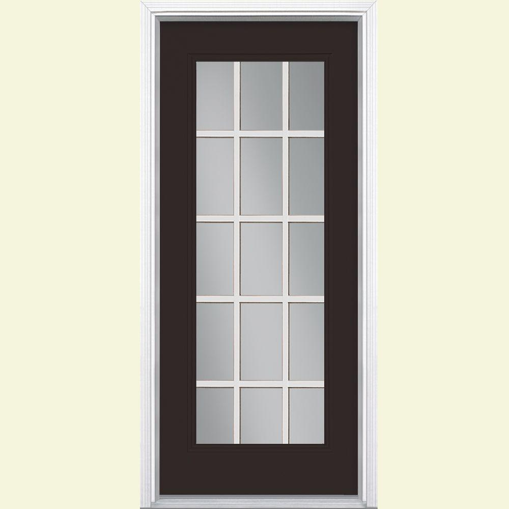 Masonite 32 in x 80 in willow wood 15 lite left hand clear glass painted steel prehung front for How to paint a steel exterior door