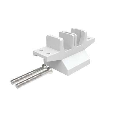Avalon 2 in. White Aluminum Oberon Over-the-Top Post Bracket - Mid Post