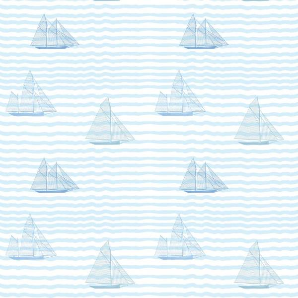 Baby Collection Sailboats in The Blues Removable and Repositionable Wallpaper