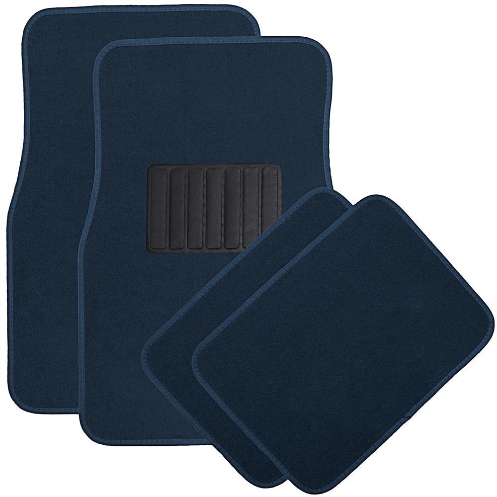Solid Blue Floor Mats 4-Piece Polyurethane Carpet