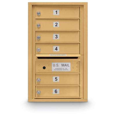 6-Door Standard 4-Compartment Mailbox in Gold