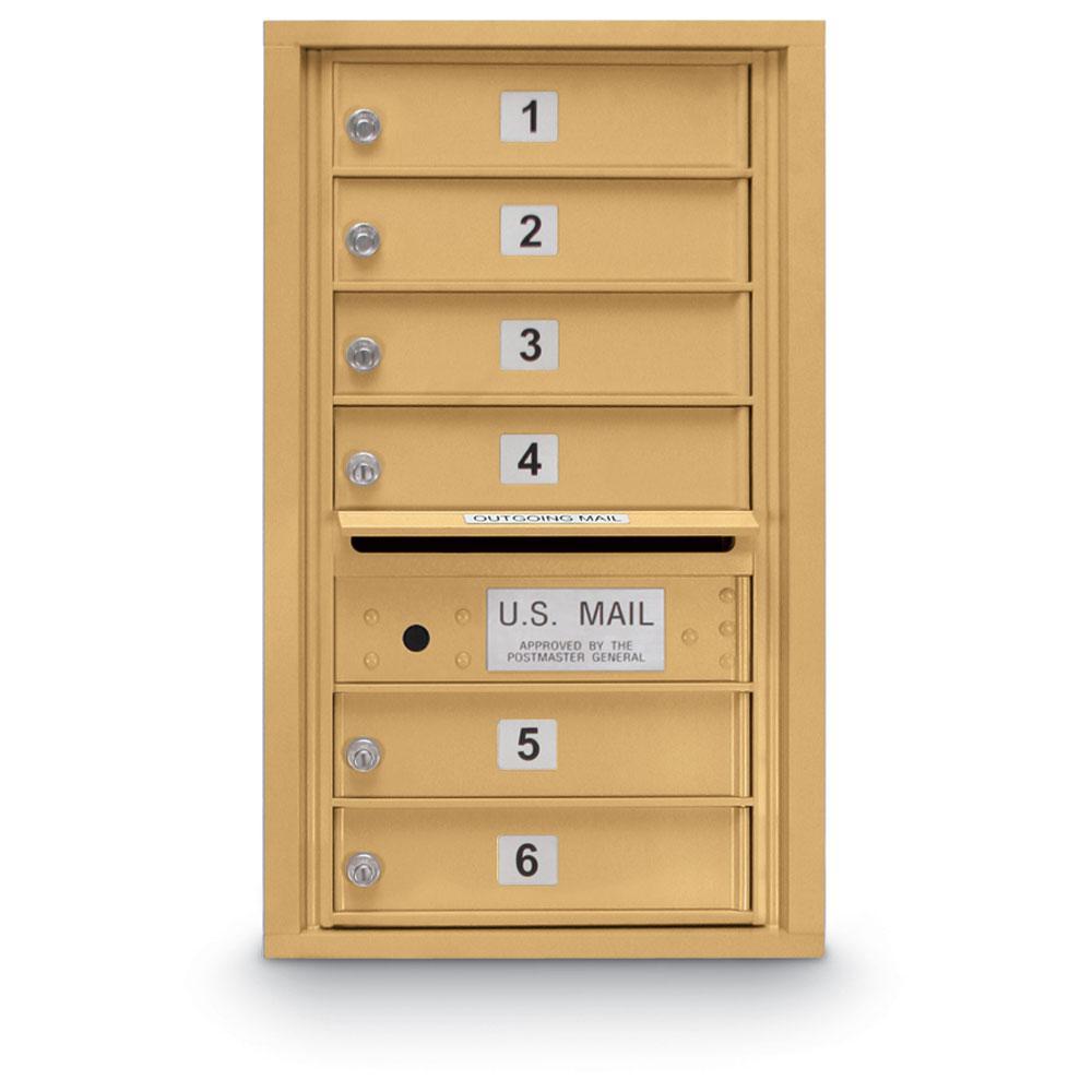 6-Door Standard 4-Compartment Mailbox in Gold