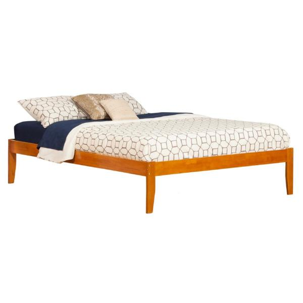 Concord Caramel Queen Platform Bed with Open Foot Board