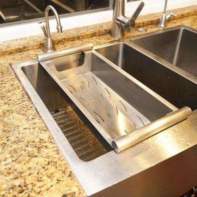 17 in. Kitchen Sink Colander in Satin Stainless for Cooking, Cleaning and Storage