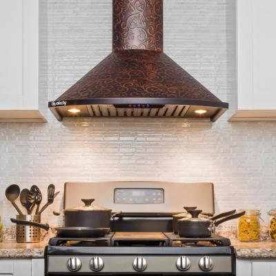 30 in. Convertible Wall Mount in Embossed Copper Vine Design Kitchen Range Hood with Lights