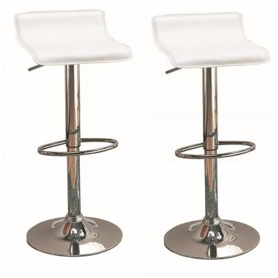 29 in. Upholstered Backless Bar Stools with Adjustable Height White and Chrome (Set of 2)