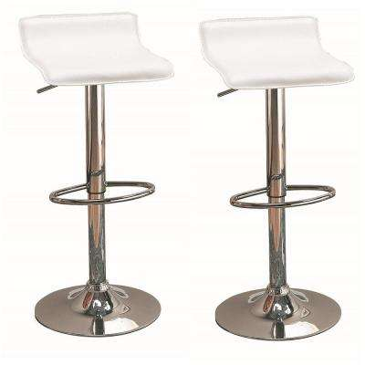 """29"""" Upholstered Backless Bar Stools with Adjustable Height White and Chrome (Set of 2)"""