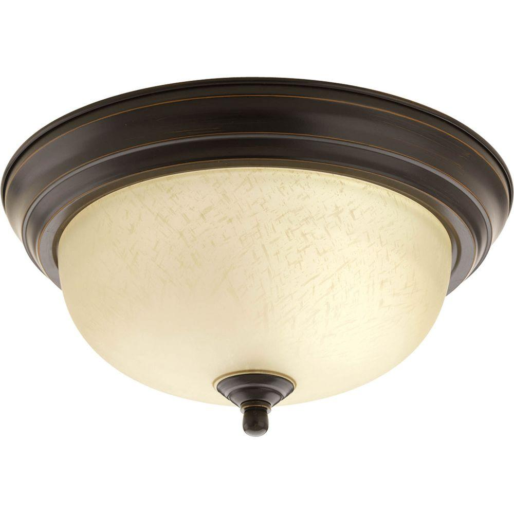 1-Light Antique Bronze Flushmount with Etched Umber Linen Glass