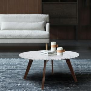 Sensational Poly And Bark Riley Marble Round Coffee Table In Walnut Hd Machost Co Dining Chair Design Ideas Machostcouk