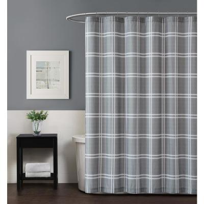 Leon Plaid 72 in. Grey Shower Curtain