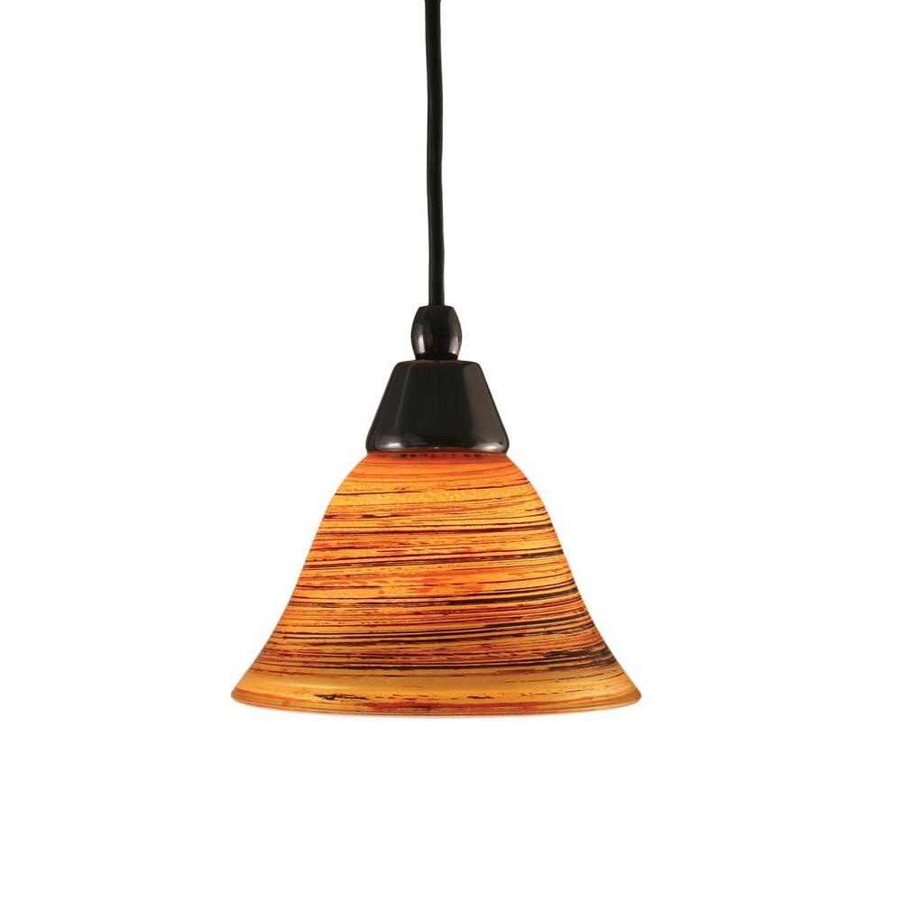 Armenta 1-Light Black Copper Pendant with Firre Saturn Glass