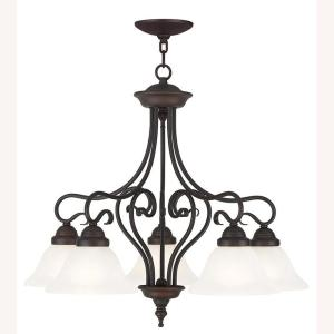 Coronado 5-Light Bronze Chandelier with White Alabaster Glass Shade