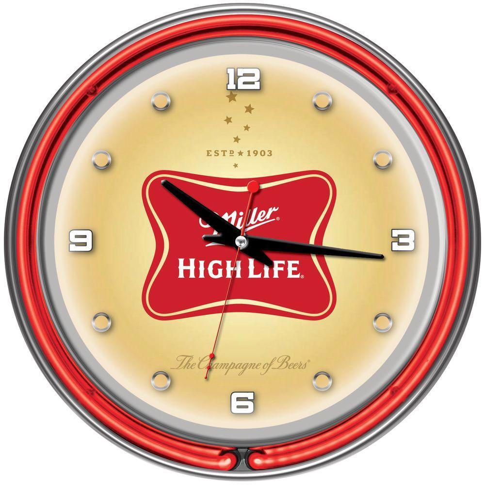 14 in. Miller High Life Neon Wall Clock