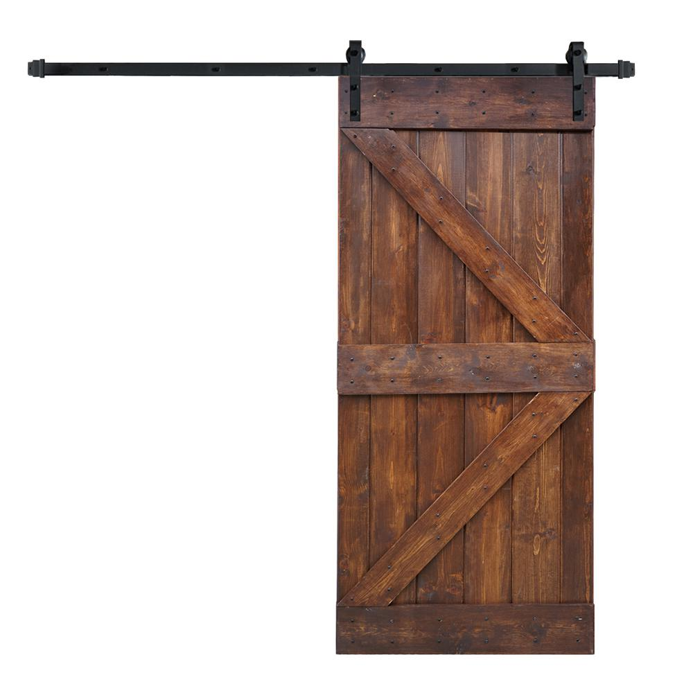 36 X 84 K Series Diy Dark Walnut Finished Knotty Pine Wood Sliding Barn Door With 6 Ft Track Hardware Kit