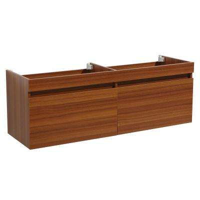 Largo 57 in. Double Bathroom Vanity Cabinet Only in Teak