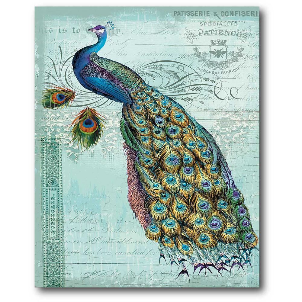 """Peacock Wall Art Brilliant 16 Inx 20 In""""blue Peacock"""" Canvas Wall Artwebsc331  The Design Decoration"""