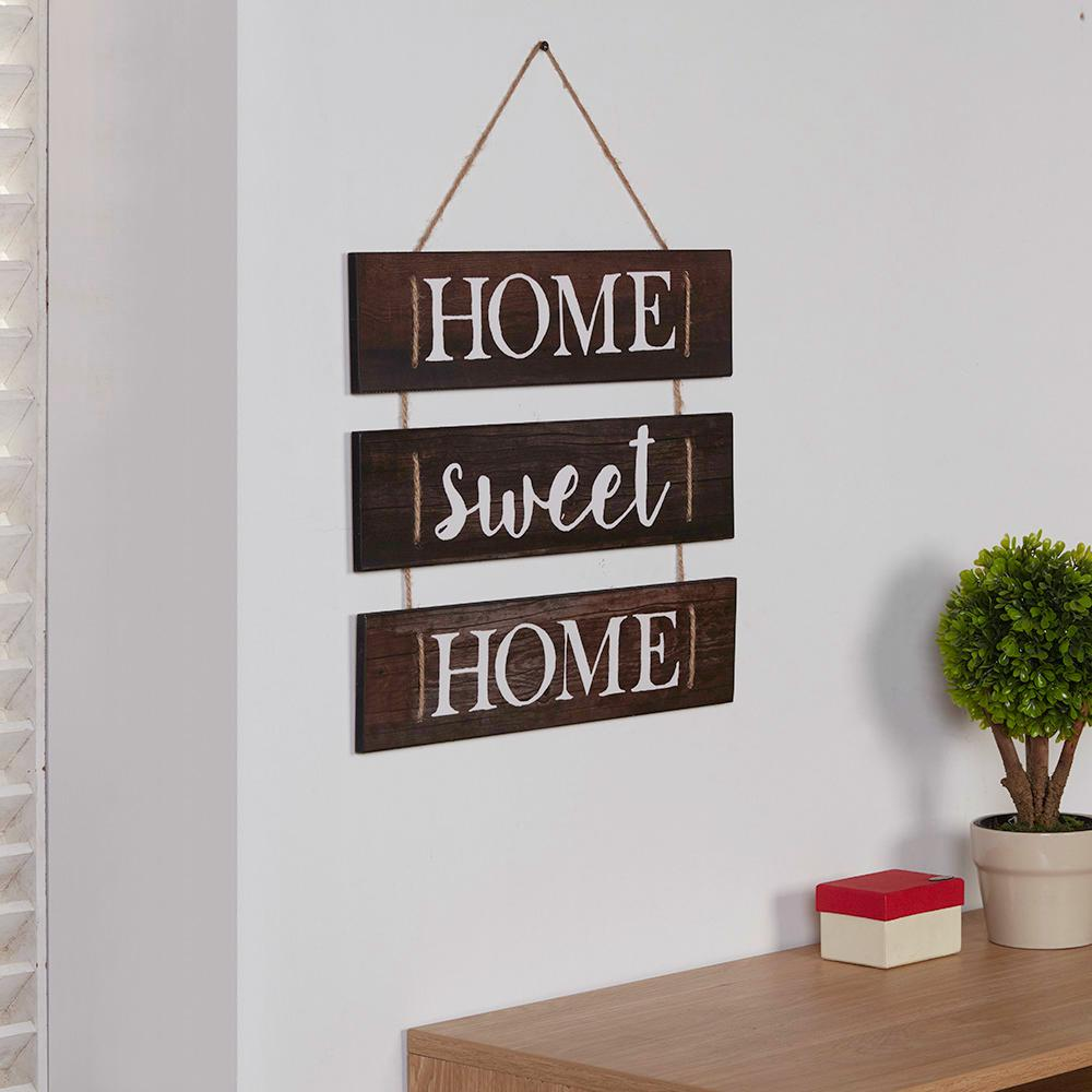 Wooden Wall Hanging Sign Rope Inspirational Home Sweet Decorative Accessory