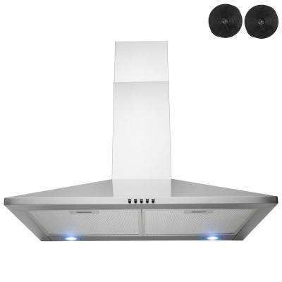 30 in. 312 CFM Convertible Kitchen Wall Mount Range Hood in Stainless Steel with Push Control, LEDs and Carbon Filters