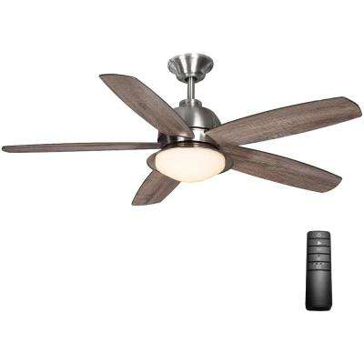 Ackerly 52 in. Integrated LED Indoor/Outdoor Brushed Nickel Ceiling Fan with Light Kit and Remote Control