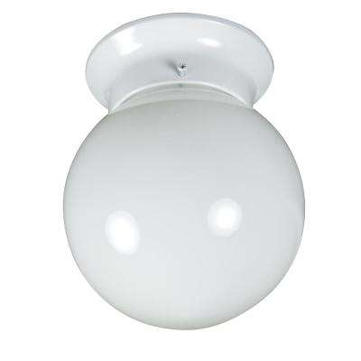 Basic 1-Light White Flushmount