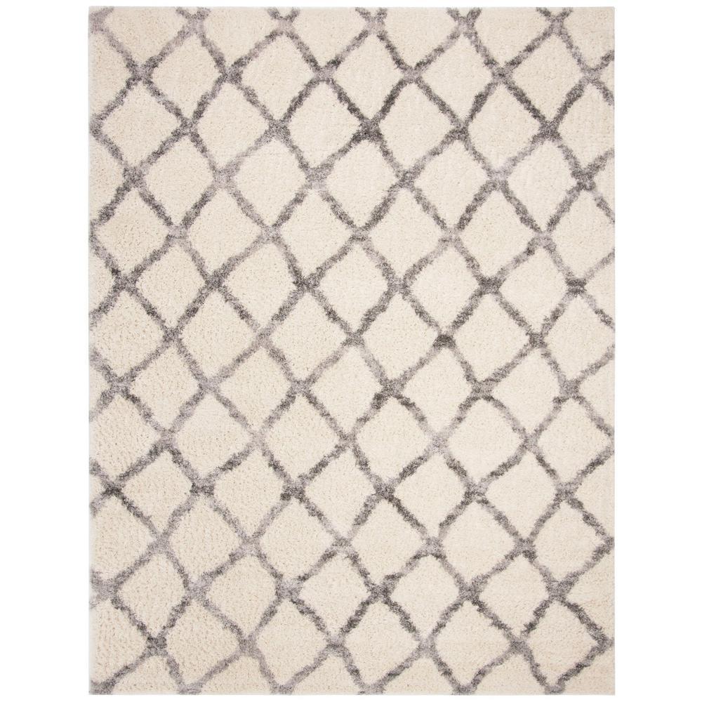 Berber Shag Ivory/Gray 8 ft. x 10 ft. Area Rug