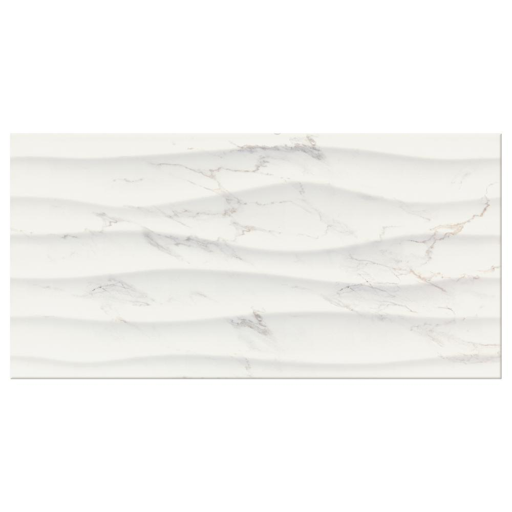 Marazzi Developed By Nature Calacatta 12 In X 24 Glazed Ceramic Wave Wall Tile 14 Sq Ft Case Dn111224whd1p2 The Home Depot