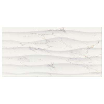Developed by Nature Calacatta 12 in. x 24 in. Glazed Ceramic Wave Wall Tile (14 sq. ft. / case)