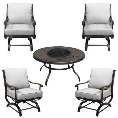 Redwood Valley 5 Piece Black Steel Outdoor Patio Fire Pit Seating Set With Bare Cushions
