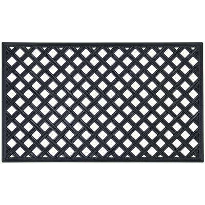 Lattice 18 in. x 30 in. Wrought Iron Rubber Mat