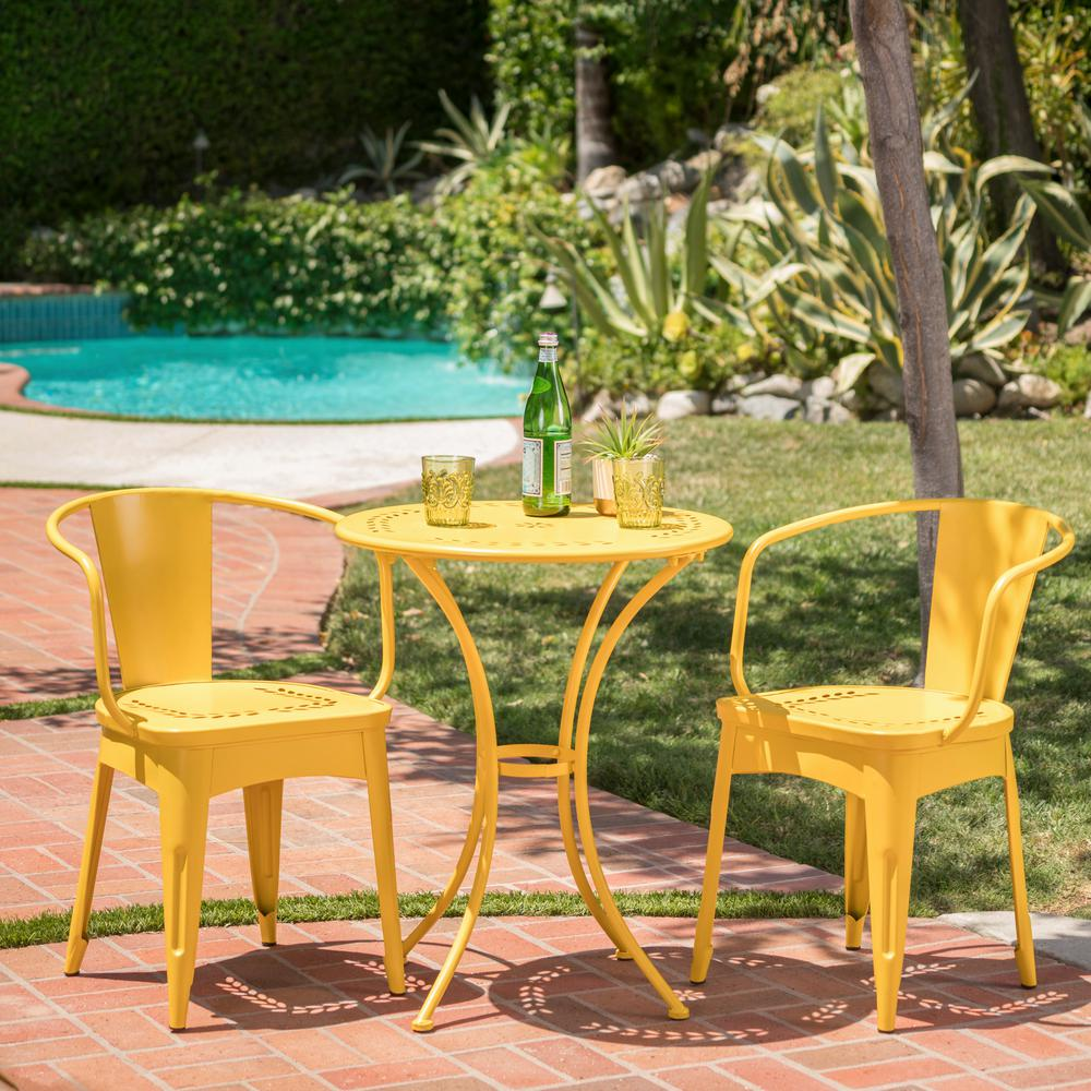 Noble House Lourdes Matte Yellow 3 Piece Metal Outdoor