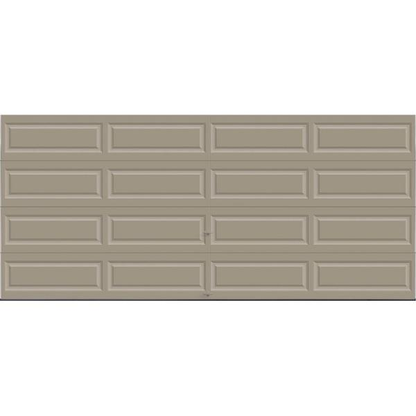 Classic Collection 16 ft. x 7 ft. 12.9 R-Value Intellicore Insulated Solid Sandtone Garage Door with Exceptional