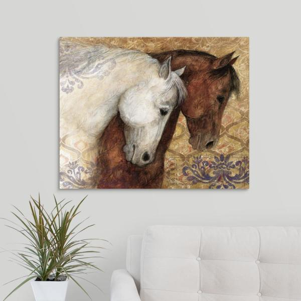 Brown And White Horses Profile By Susan Winget Canvas Wall Art