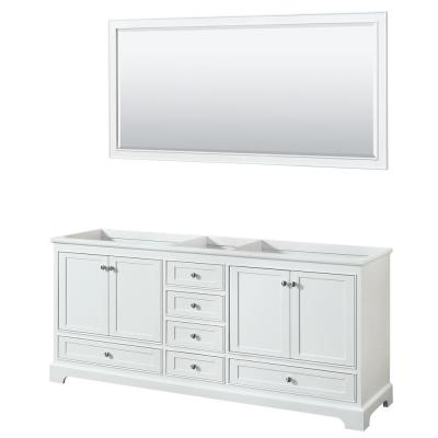 Deborah 79 in. Double Bathroom Vanity Cabinet Only with 70 in. Mirror in White