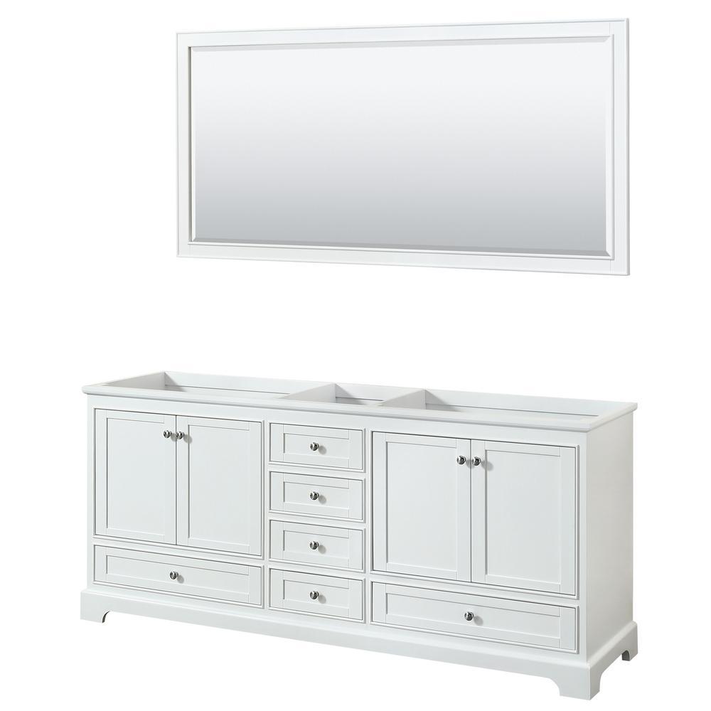 Deborah 79 in. Double Bathroom Vanity Cabinet Only with 70 in. Mirror in White