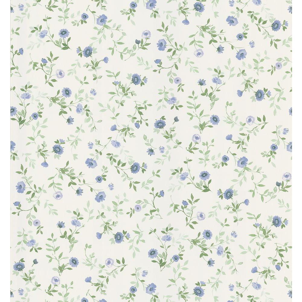 Brewster Cottage Living Blue Wash Floral Wallpaper Sample 403