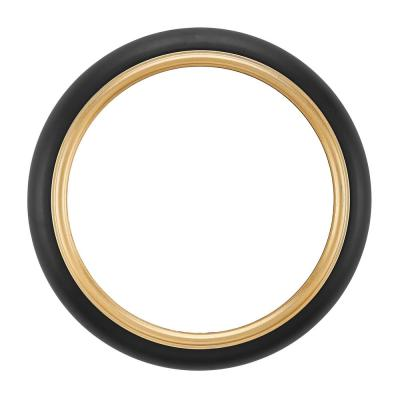 16.75 in. Round Wall Mount Accent Mirror with Black Metal Frame and Gold Trim