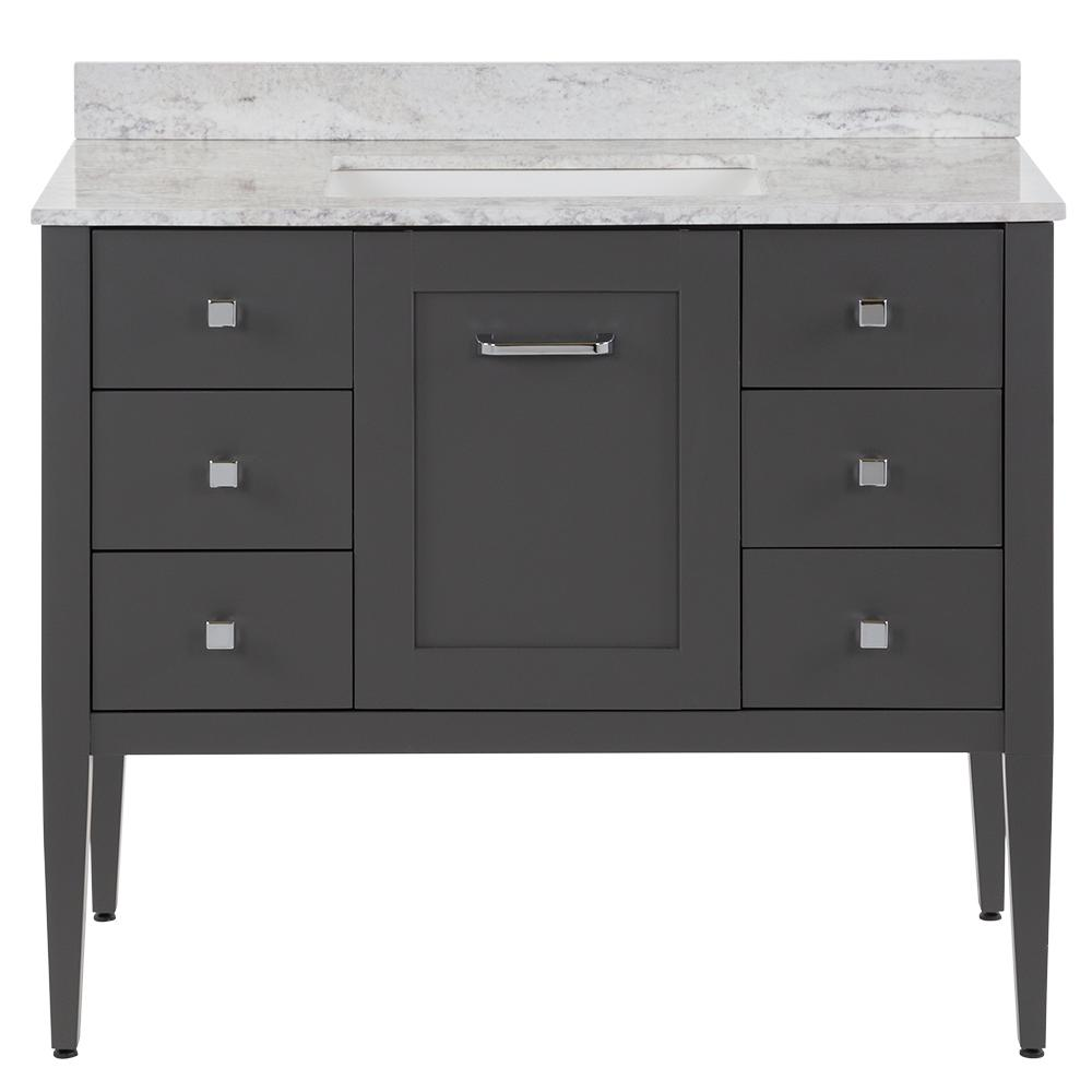 Hensley 43 in. W x 22 in. D Bath Vanity in Shale Gray with Stone Effect Vanity Top in Winter Mist with White Sink