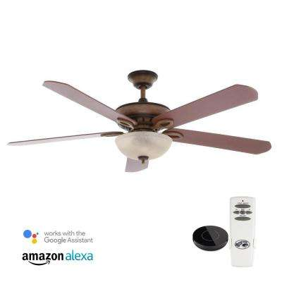 Asbury 60 in. LED Gilded Espresso Ceiling Fan with Light Kit Works with Google Assistant and Alexa