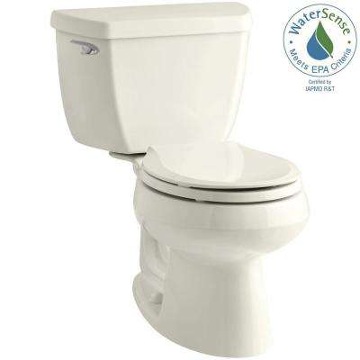 Wellworth Classic 2-piece 1.28 GPF Round Front Toilet with Class Five Flushing Technology in Biscuit