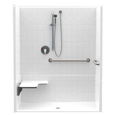 Accessible Diagonal Tile AcrylX 60 in. x 34 in. x 75.5 in. 4-Piece ADA Shower Stall w/ Left Seat and Grab Bars in White