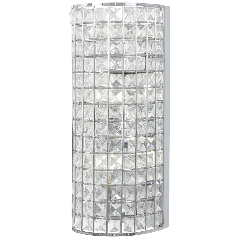 cheap for discount dd0cb d084e Minka Lavery Palermo 3-Light Chrome Wall Sconces with Clear Crystal Glass  Shade