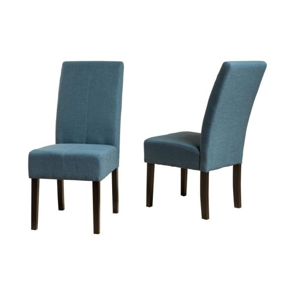 Pertica Blue Fabric T-Stitch Dining Chairs (Set of 2)