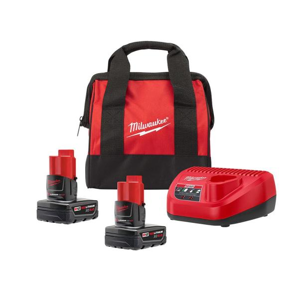 Milwaukee M12 12-Volt Lithium-Ion Starter Kit with Two 4.0 Ah Battery Packs and Charger