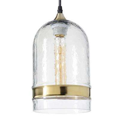 6 in. W x 12 in. H 1-Light Brass Ring Hammered Hand Blown Glass Pendant Light with Clear Glass Shade
