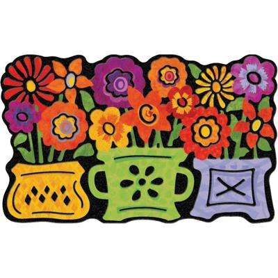 Three Flower Pots 22 in. x 36 in. Recycled Rubber Mat