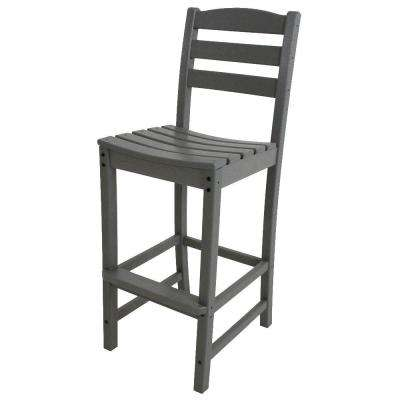 La Casa Cafe Slate Grey Plastic Outdoor Patio Bar Side Chair