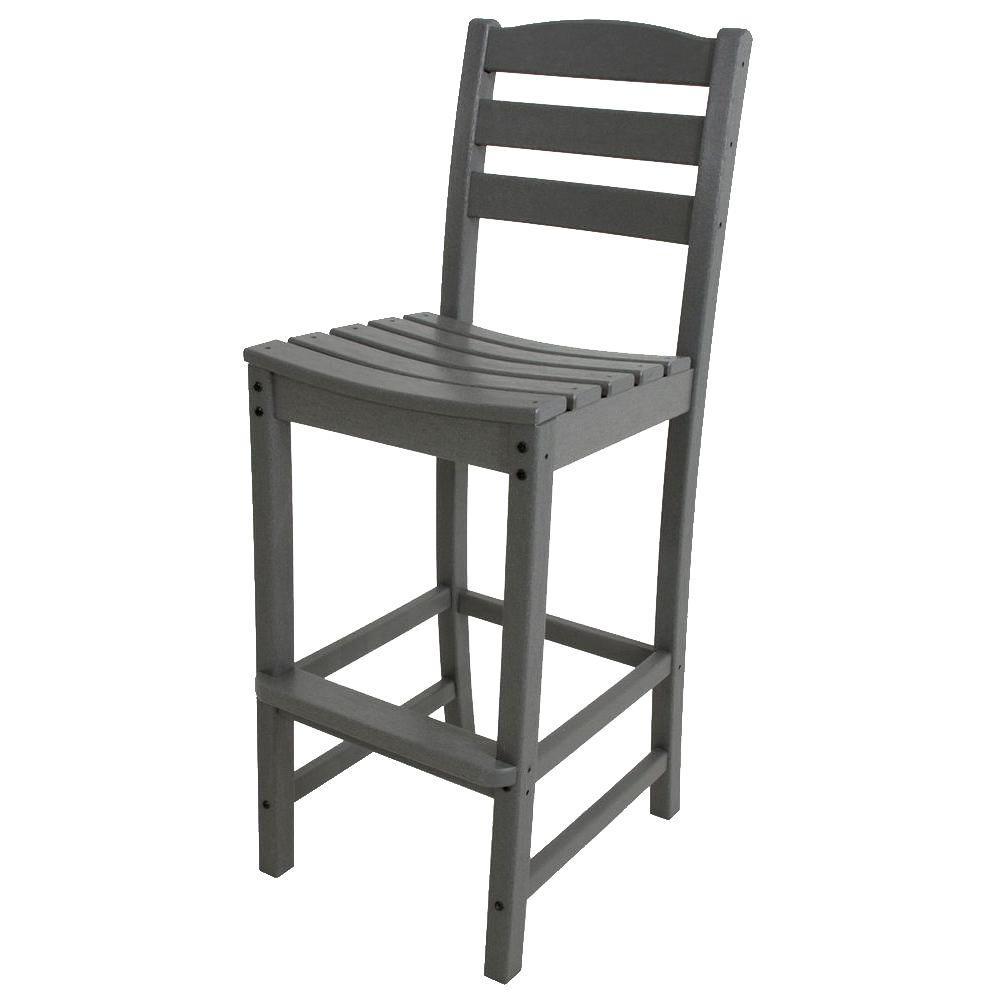La Casa Cafe Slate Grey Plastic Outdoor Patio Bar Side Chair