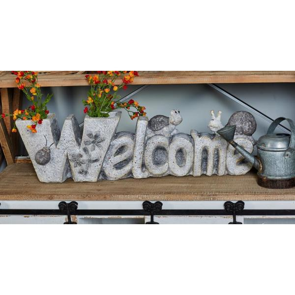 Litton Lane White Polystone ''Welcome'' Carved Flower Pot 66920